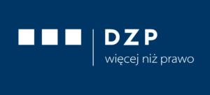 białe logo DZP zsygnetem nagranatowym tle