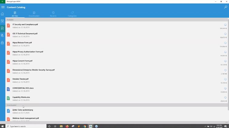 Podgląd folderu Content zdostępnymi plikami dla wszystkich użytkowników daje sieci Mobile Device Manager Plus