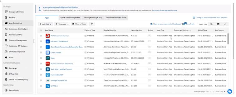 Tworzenie repozytorium dostępnych aplikacji wMobile Device Manager Plus