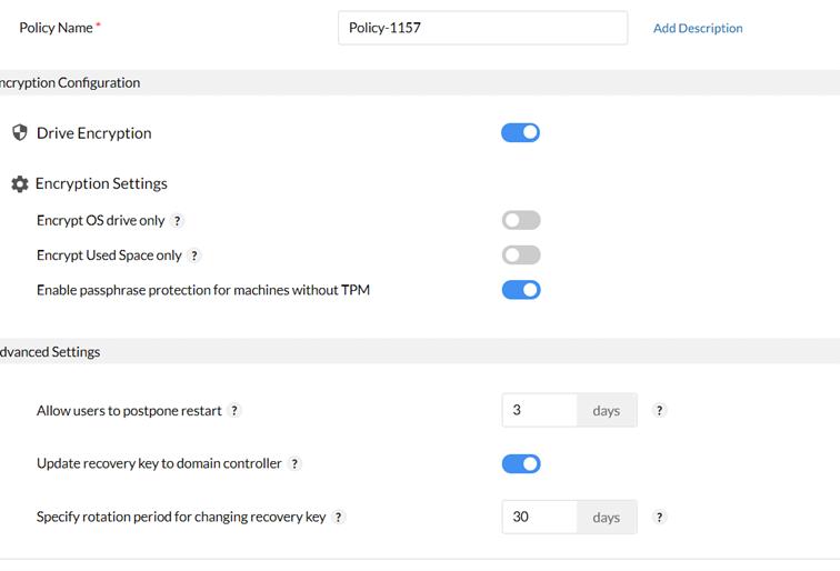 Funkcja BitLocker wDesktop Central pozwala natworzenie własnych polityk