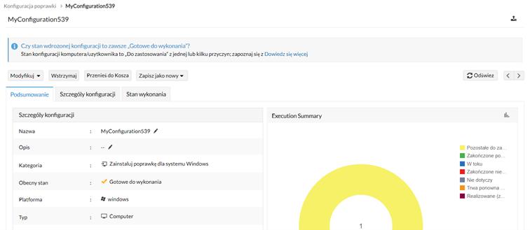 Dashboard gotowej konfiguracji wVulnerability Manager Plus
