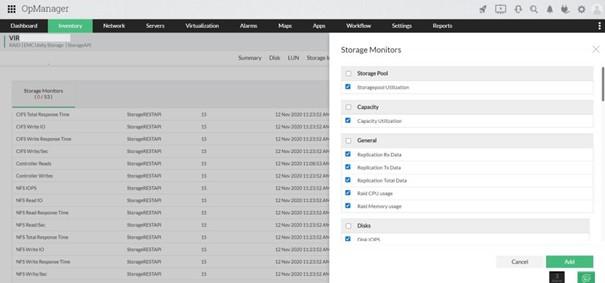 Monitorowanie pamięci masowej wOpManager