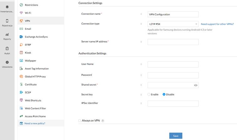 Konfiguracja VPN zapomocą Mobile Device Manager Plus