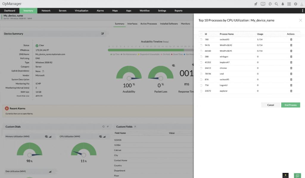 Monitorowanie procesów wOpManager