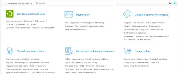 Ustawienia administratora wServiceDesk Plus