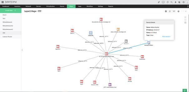 Mapa topologii sieci wOpManager