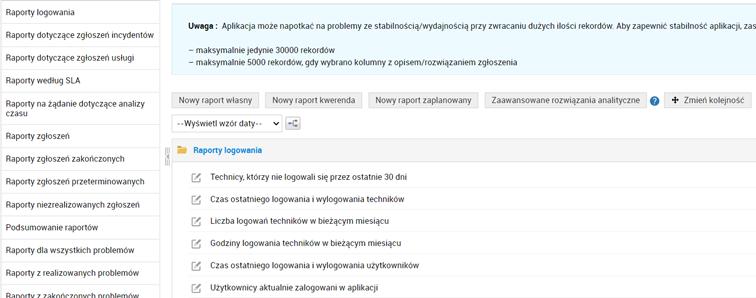 Raporty wServiceDesk Plus 11300